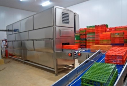 Afblaasmodules voor drogen van kratten, containers en paletten