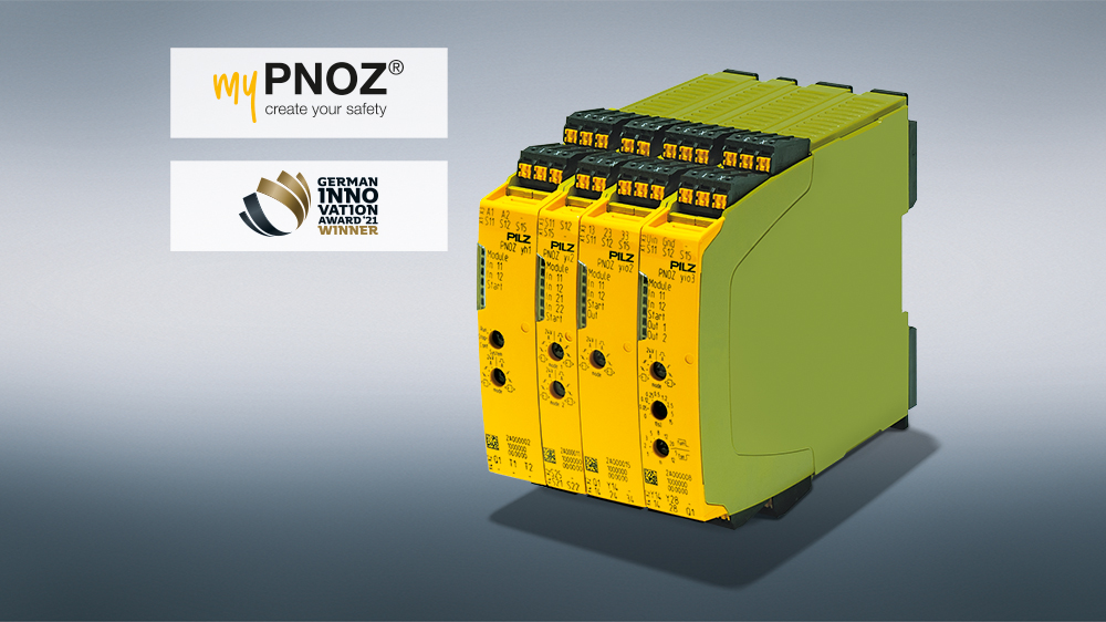 """German Innovation Award (GIA) confirms the innovation level of the world's first safety relay in batch size 1 – myPNOZ: """"Winner"""" in Electronic Technologies!"""